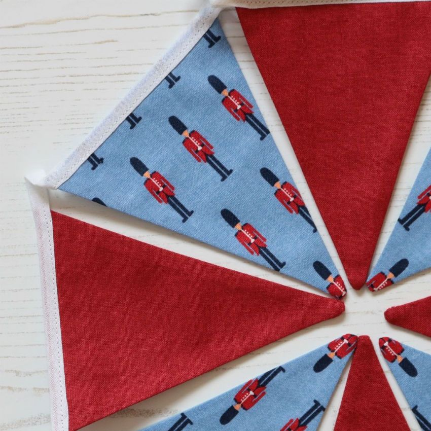 Little Guardsmen Soldier Mini Cotton Bunting (Price inc P&P) with 14 Flags